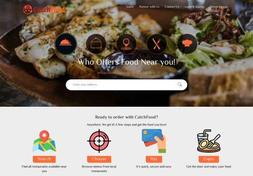لقطة شاشة لموقع كاتش فود لطلب الطعام اون لاين بتاريخ 08/04/2021 بواسطة دليل مواقع كريم جمال