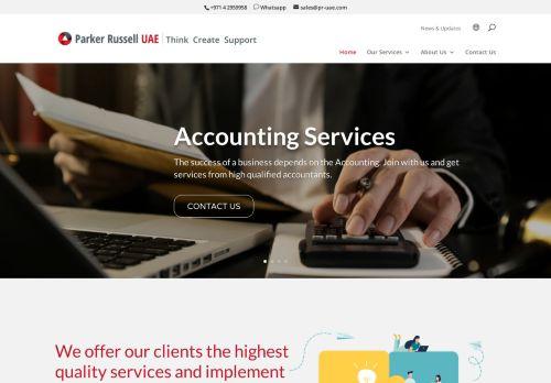 لقطة شاشة لموقع Audit Firms in Dubai | Parker Russell UAE بتاريخ 09/04/2021 بواسطة دليل مواقع كريم جمال