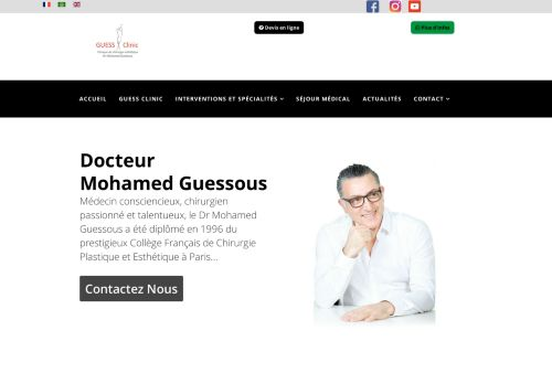 لقطة شاشة لموقع Clinique de chirurgie esthétique et bien être au Maroc بتاريخ 02/06/2021 بواسطة دليل مواقع كريم جمال