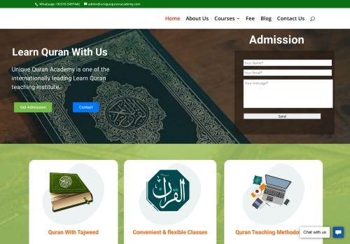 لقطة شاشة لموقع Unique Quran Academy - Online Quran teaching institute بتاريخ 08/08/2020 بواسطة دليل مواقع كريم جمال