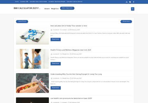 لقطة شاشة لموقع BMI CALCULATOR FREE 2021 بتاريخ 02/03/2021 بواسطة دليل مواقع كريم جمال