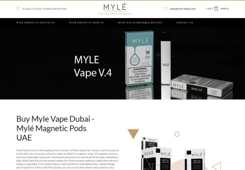 لقطة شاشة لموقع Myle Vape Dubai بتاريخ 04/03/2021 بواسطة دليل مواقع كريم جمال